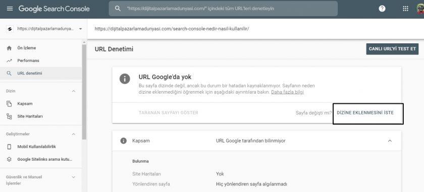 search console dizin ekleme