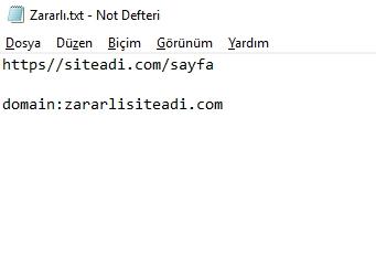 bağlantıları reddetme txt dosyası