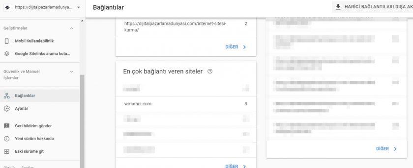google search console gelen bağlantılar